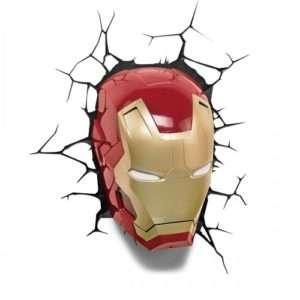 Idea regalo Lampade da muro 3D  Avengers – Maschera Iron Man a 39 €