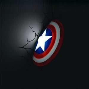 Idea regalo Lampade da muro 3D  Avengers – Scudo Captain America a 39 €