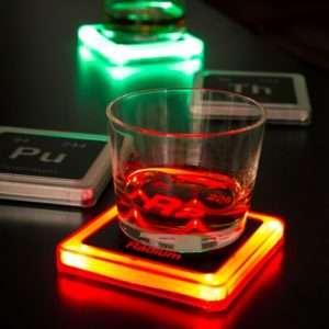 Idea regalo Sottobicchieri Luce Radioattiva – Set da 4