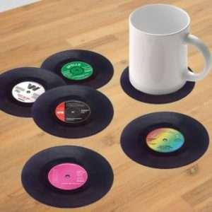 Regalo Sottobicchieri a forma di disco in vinile