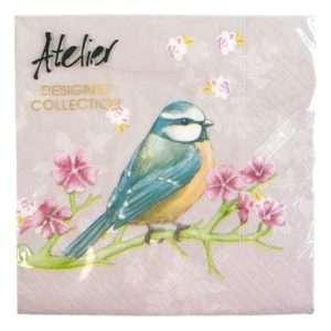Regalo Tovaglioli – Uccellino su ramo fiorito