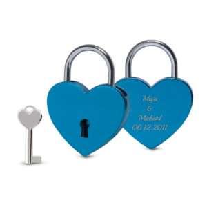 Idea regalo Lucchetto blu Cuore con incisione