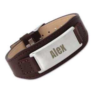 Idea regalo Bracciale Cinturino in pelle con piastrina personalizzabile