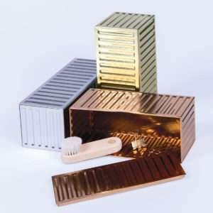 Idea regalo Set di 3 scatole in metallo a forma di container
