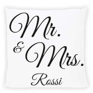 Idea regalo Cuscino personalizzabile con stampa Mr. & Mrs.