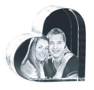 Idea regalo Cuore di vetro con fotografia incisa