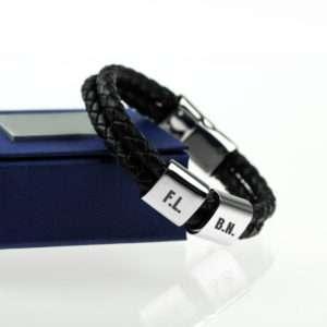 Idea regalo Cinturino in pelle intrecciata con piastrine personalizzabili