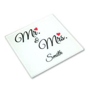 Idea regalo Sottobicchiere Mr & Mrs personalizzabile