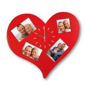 Idea regalo Orologio da parete a cuore con cornice incorporata