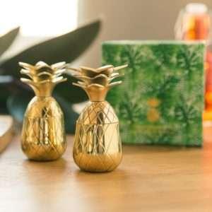 Regalo Bicchierini di Metallo Ananas  set da 2
