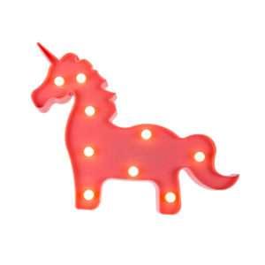 Idea regalo Unicorno rosa in plastica con 9 luci bianche calde LED