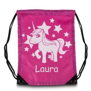 Idea regalo Sacca da Ginnastica con Unicorno e Nome