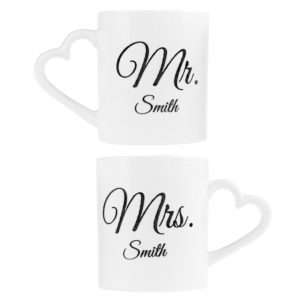 Idea regalo Tazze romantiche personalizzabili Mr. & Mrs.