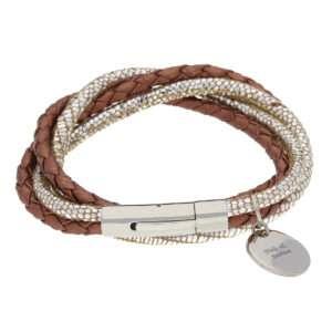 Idea regalo Bracciale con intrecci di cuoio e argento e medaglietta
