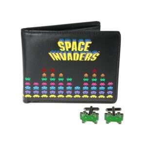 Regalo Set portafoglio e gemelli Space Invaders
